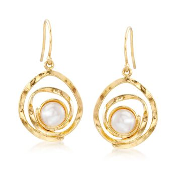 7-7.5mm Cultured Pearl Swirl Drop Earrings in 18kt Gold Over Sterling , , default
