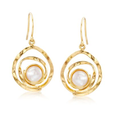 7-7.5mm Cultured Pearl Swirl Drop Earrings in 18kt Gold Over Sterling, , default
