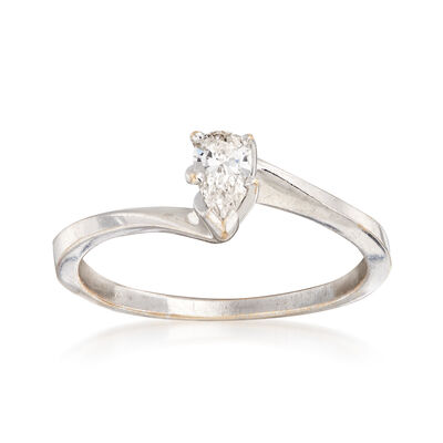 C. 1990 Vintage .30 Carat Pear-Shaped Diamond Solitaire Ring in 14kt White Gold, , default