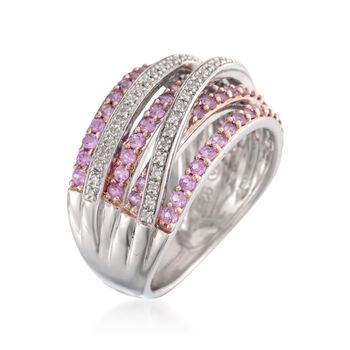 1.00 ct. t.w. Pink Sapphire and .15 ct. t.w. Diamond Highway Ring in Sterling Silver, , default