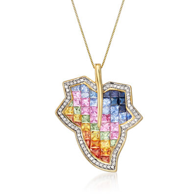 6.90 ct. t.w. Multicolored Sapphire and .35 ct. t.w. Diamond Leaf Pendant Necklace in 14kt Yellow Gold, , default