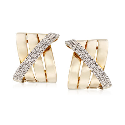 .91 ct. t.w. Diamond Crisscross Earrings in 14kt Yellow Gold