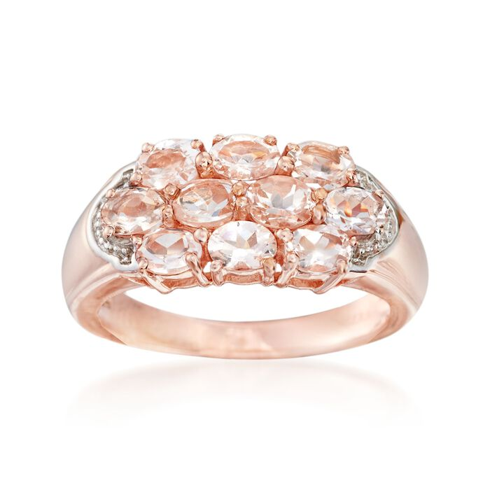 1.50 ct. t.w. Morganite Cluster Ring in 14kt Rose Gold Over Sterling, , default