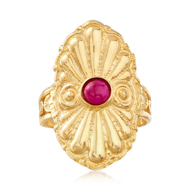 Italian .50 Carat Ruby Ring in 18kt Gold Over Sterling, , default