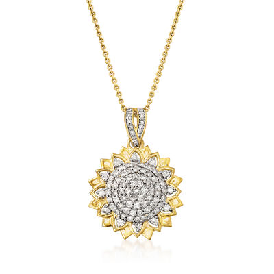 .75 ct. t.w. Diamond Flower Pendant Necklace in 18kt Gold Over Sterling