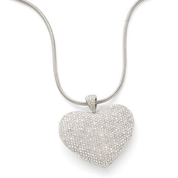 "5.00 ct. t.w. Pave Diamond Heart Pendant Necklace in Sterling Silver. 18"", , default"