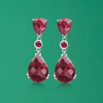 14.60 ct. t.w. Ruby Drop Earrings in Sterling Silver , , default
