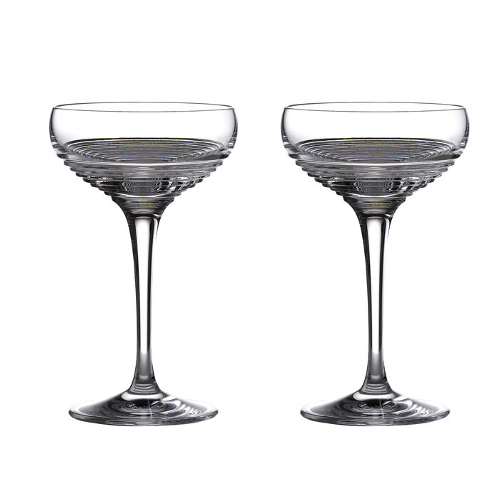 """Waterford Crystal """"Mixology Mixed"""" Set of 4 Small Coupe Glasses"""