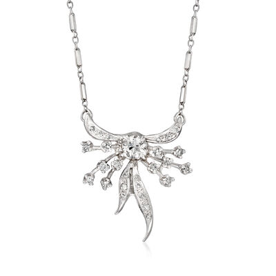 C. 1970 Vintage .95 ct. t.w. Diamond Bow Necklace in 14kt White Gold