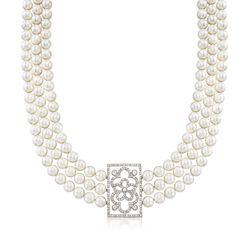 "8.3mm Shell Pearl Necklace With White Topaz Centerpiece in Sterling Silver. 17"", , default"