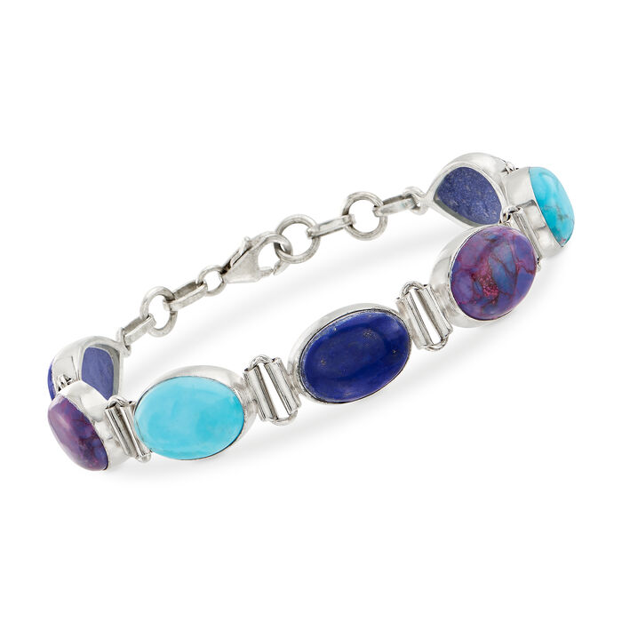 Purple and Blue Turquoise and Lapis Bracelet in Sterling Silver