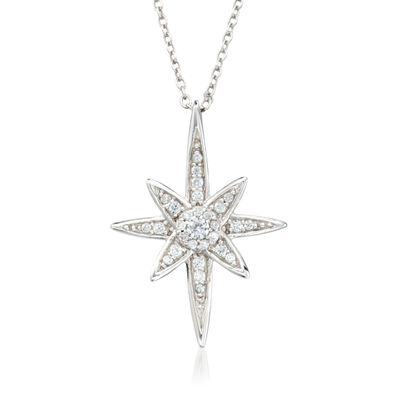 .33 ct. t.w. CZ North Star Pendant Necklace in Sterling Silver, , default