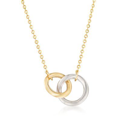 14kt Two-Tone Gold Interlocking Double Circle Necklace, , default