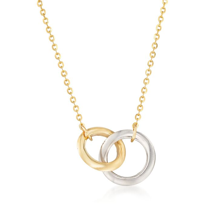 14kt Two-Tone Gold Interlocking Double Circle Necklace