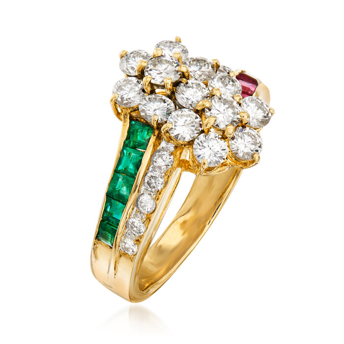 C. 1980 Vintage 1.65 ct. t.w. Diamond, .50 ct. t.w. Ruby and .40 ct. t.w. Emerald Flower Ring in 14kt Yellow Gold