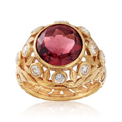 C. 1970 Vintage 4.65 Carat Rubellite and .80 ct. t.w. Diamond Floral Ring in 14kt Yellow Gold, , default