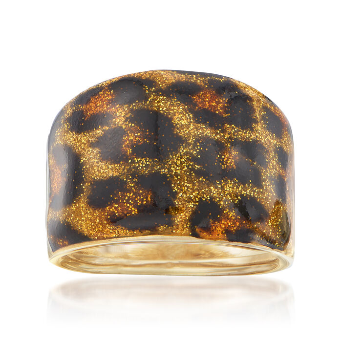 Italian Leopard Print Enamel Dome Ring in 14kt Yellow Gold, , default