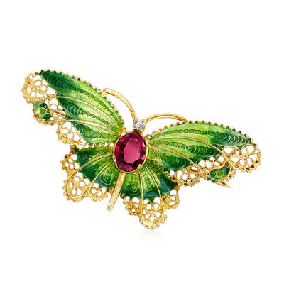 C. 1970 Vintage 1.05 Carat Rhodolite Garnet and Green Enamel Butterfly Pin in 14kt Yellow Gold, , default