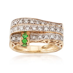 C. 1980 Vintage .45 ct. t.w. Diamond and .12 ct. t.w. Tsavorite Three-Row Ring in 14kt Yellow Gold, , default