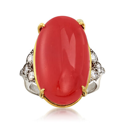 C. 1960 Vintage Coral and .40 ct. t.w. Diamond Ring in 14kt Two-Tone Gold
