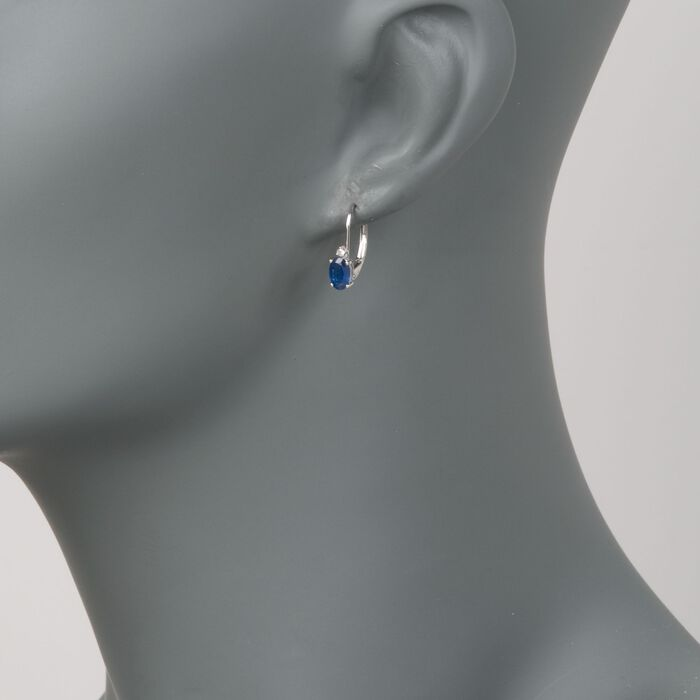1.20 ct. t.w. Sapphire Earrings with Diamonds in 14kt White Gold