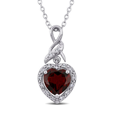 1.90 Carat Garnet Heart Pendant Necklace with Diamond Accents in Sterling Silver