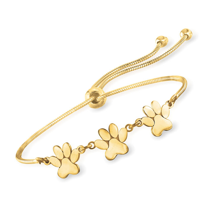 18kt Gold Over Sterling Silver Tiny Paws Bolo Bracelet