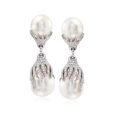 13-14mm Cultured South Sea Pearl and 2.25 ct. t.w. Diamond Drop Earrings in 18kt White Gold, , default