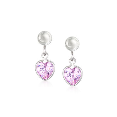 Child's 1.00 ct. t.w. Pink CZ Heart Drop Earrings in Sterling Silver, , default