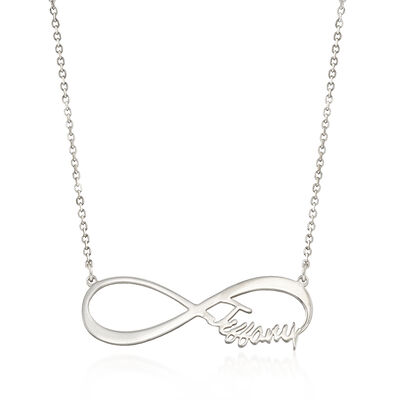 Sterling Silver Open-Space Infinity Small Name Necklace, , default