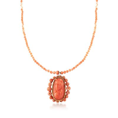 C. 1900 Vintage Pink Coral Bead and Cameo Necklace in 14kt and 18kt Yellow Gold, , default