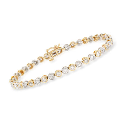 Bezel-Set 3.00 ct. t.w. Diamond Tennis Bracelet in 14kt Two-Tone Gold, , default