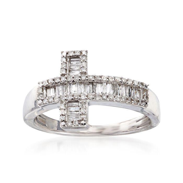 .33 ct. t.w. Diamond Sideways Cross Ring in Sterling Silver, , default