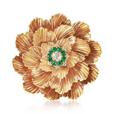 C. 1950 Vintage .65 ct. t.w. Emerald and .50 ct. t.w. Diamond Flower Pin in 14kt Yellow Gold, , default