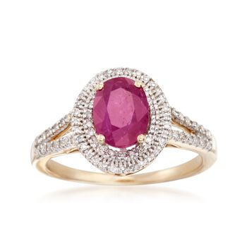 .20 Carat Ruby and 1.70 ct. t.w. Diamond Ring in 14kt Yellow Gold, , default