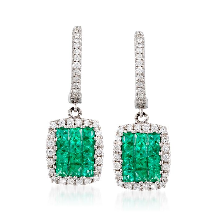 Gregg Ruth .60 ct. t.w. Emerald and .25 ct. t.w. Diamond Earrings in 18kt White Gold, , default