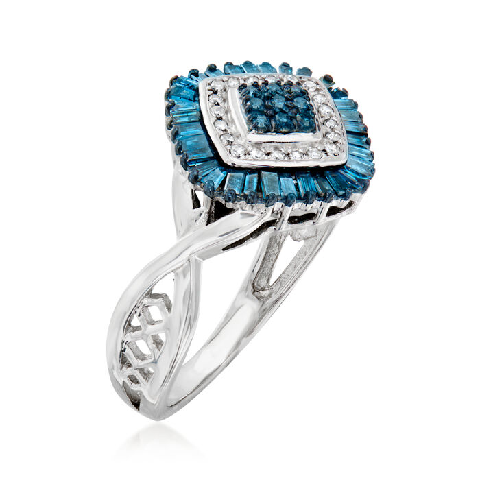 .50 ct. t.w. Blue and White Diamond Ring in Sterling Silver