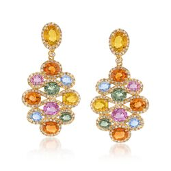 8.80 ct. t.w. Multicolored Sapphire and 1.00 ct. t.w. Diamond Cluster Drop Earrings in 18kt Gold, , default