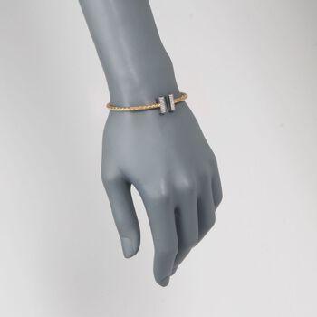 "Charles Garnier ""Bella"" .30 ct. t.w. CZ Cuff Bracelet in Two-Tone Sterling Silver. 7"", , default"