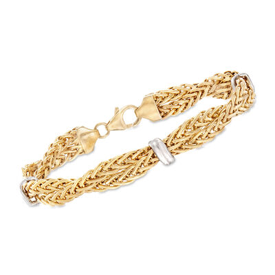 Italian 14kt Two-Tone Gold  Twisted Wheat-Link Bracelet, , default