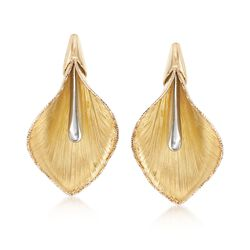 Italian 14kt Two-Tone Gold Calla Lily Earrings, , default
