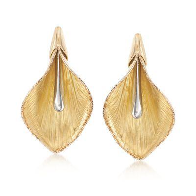 Italian 14kt Two-Tone Gold Calla Lily Earrings, , default