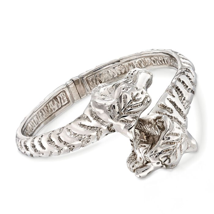 Italian Sterling Silver Tiger Bypass Bangle Bracelet, , default