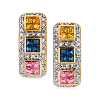 C. 1990 Vintage 2.40 ct. t.w. Multicolored Sapphire .60 ct. t.w. Diamond Earrings in 14kt Yellow Gold, , default