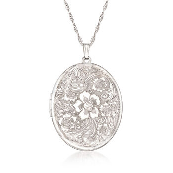 Sterling Silver Personalized Floral Locket Pendant Necklace, , default