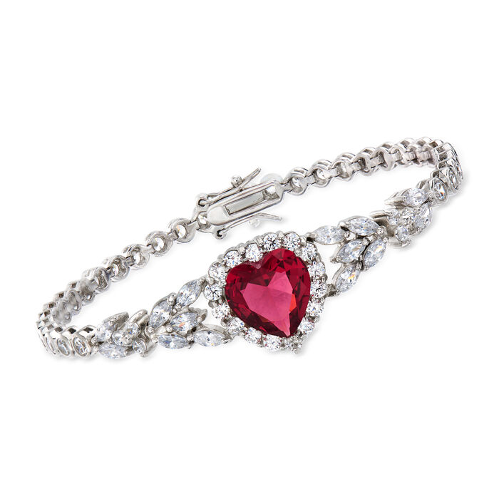 """7.25 Carat Simulated Ruby and 6.67 ct. t.w. CZ Heart Bracelet in Sterling Silver. 7"""""""