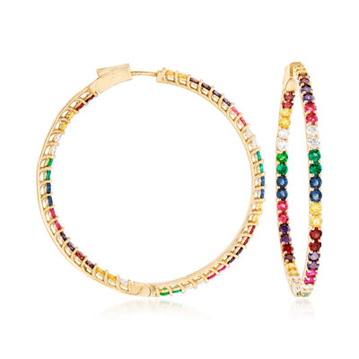 2.50 ct. t.w. Multicolored CZ Inside-Outside Hoop Earrings in 18kt Gold Over Sterling
