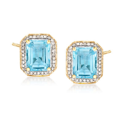 4.90 ct. t.w. Blue Topaz and .24 ct. t.w. Diamond Earrings in 14kt Yellow Gold, , default