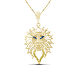 18kt Yellow Gold Over Sterling Silver Lion Head Pendant Necklace With Diamond Accents, , default