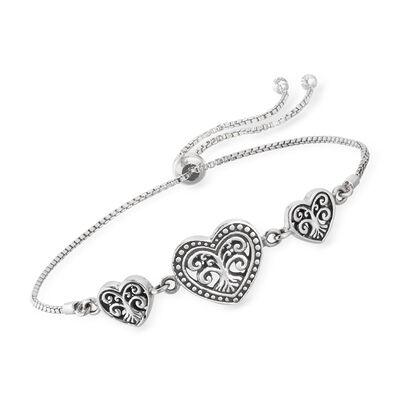 Sterling Silver Bali-Style Heart Bolo Bracelet